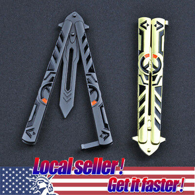 Overwatch Balisong Butterfly Knife Trainer Training Practice Metal Steel Box US