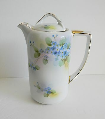 Nippon hand painted teapot with blue flowers and gold