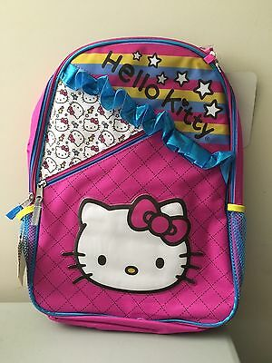 5a4e9cff77d8 Hello Kitty Backpack 3D Ribbons Ruffle With Two Side Mesh Pockets - New