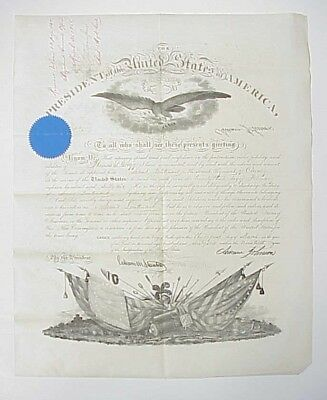 1866 Andrew Johnson Presidential Commission Document 2nd US Cavalry 2nd Lt.