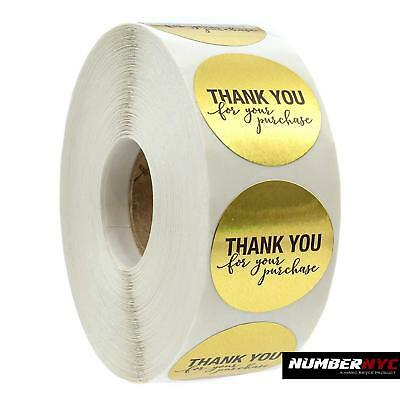 """1.25"""" Round Gold Foil Thank You for Your Purchase Stickers 1000 Labels per Roll"""