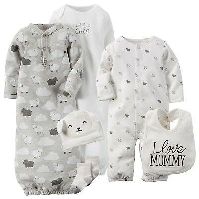 NWT 6-Piece Lot Carter's Unisex Baby Lamb Take-Me-Home Set 3M & Gowns