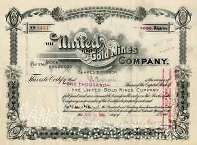 1906 United Gold Mines Stock Certificate signed by Warren Woods
