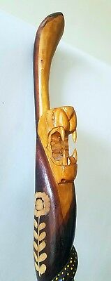 """Walking Stick Cane Jamaican Lions Head Hand Carved Wooden Authentic 41.5"""""""
