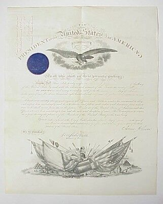 1868 Andrew Johnson Presidential Commission Document 2nd US Cavalry Major