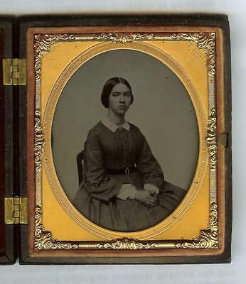 Daguerreotype 1/6 Plate Ambrotype Young Lady Photo Gutta Percha Crack Case 1860s
