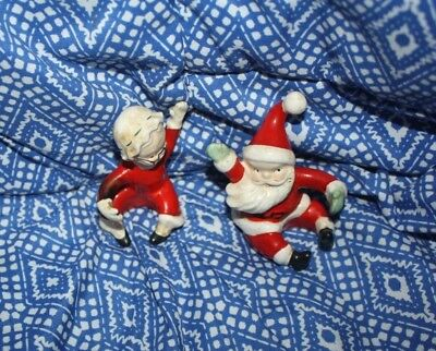 vinage ceramic Santa and Mrs Claus shelf ornaments