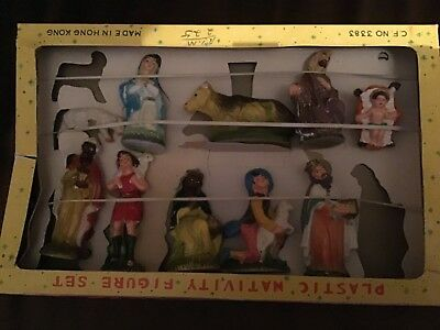 Vintage plastic nativity figure set made in Hong Kong.