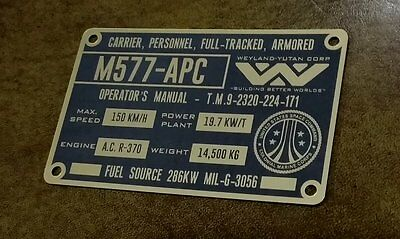 Custom Aliens M577 Armored Personnel Carrier Specifications Data Plate Prop Apc