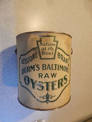 Durm's Baltimore Raw Oysters Gallon Tin Can With Handle - Keystone Brand