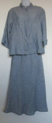 BRYN WALKER Blue Linen L Button Front Top & M Bias Skirt Set