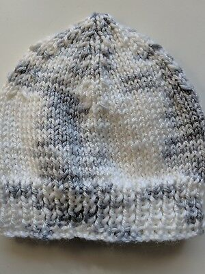 Newborn beanie/hat  - Hand Knitted - Colour - White and Grey