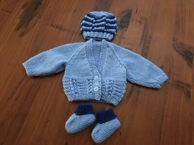 Hand knitted baby set, Cardigan,Beanie and Bootees NEWBORN (Blue/Royal Blue )