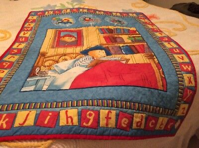 Handmade Hand Quilted PADDINGTON BEAR Baby Kids Crib Quilt Bold Primary Colors