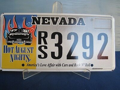Nevada, Hot August Nights graphic license plate. Unused.