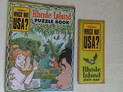 Highlights RHODE ISLAND Which Way USA? Puzzle Activity Book Magazine w/Map