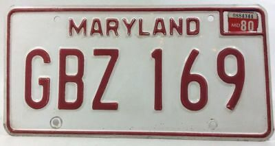 Maryland License Plate 1980 1975 1976 1977 1978 1979 Red White MD Tag GBZ 169