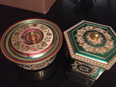 Two Vintage Ornate Baret Ware Art Grace Made In England Tin Containers