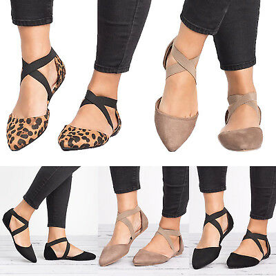 Women Summer Ankle Strap Ballet Flats Ballerina Shoes Pointed Toe Casual Sandals