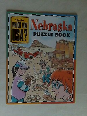 Highlights NEBRASKA Which Way USA Puzzle Activity Book Magazine BOOK ONLY/NO MAP