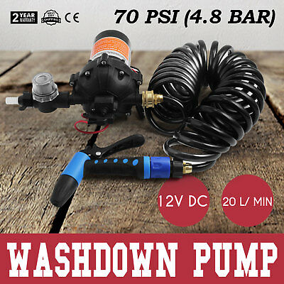 12V 70 PSI Washdown Spray Pump Kit 5.5 GPM CE Approved Heavy Duty Self-Priming