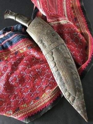 Old Nepalese Gurkha Knife with Ornate Brass covered Sheath …beautiful collection