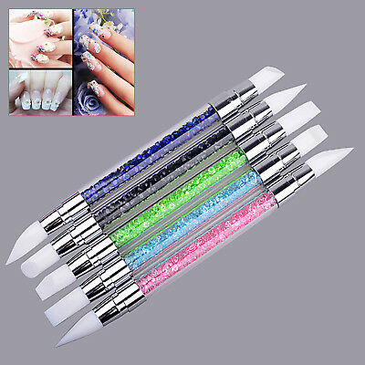 5 PCS/Set Silicone Tip UV Gel Acrylic Nail Art Brush Carving Double-end Pen Tool