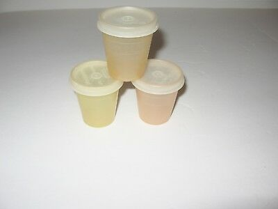 Vintage 3 Tupperware Midget Containers with Lids Dips Pills Travel K 101 65