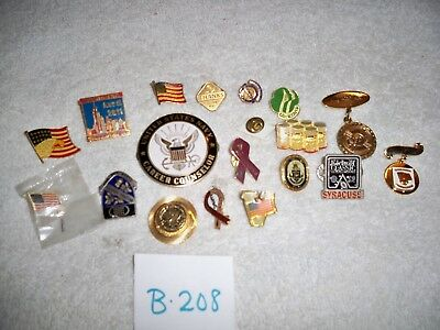 Vintage Pin Lapel Hat Lot of 19 Advertising Military Navy Scout Flag Awards Misc
