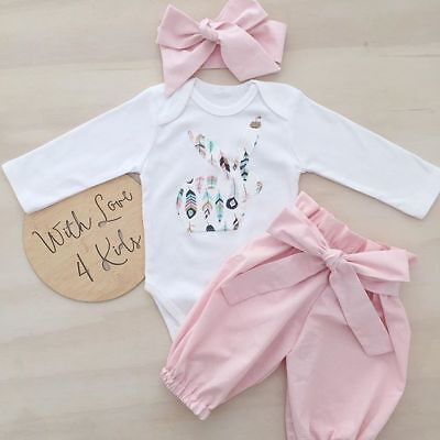 AU Newborn Kid Baby Girl 3pcs Clothes Jumpsuit Romper Bodysuit Pants Outfits Set