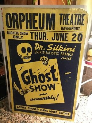 Spook Show Poster Window Card Dr. Silkini Rare! Ghost Show Only Known Example