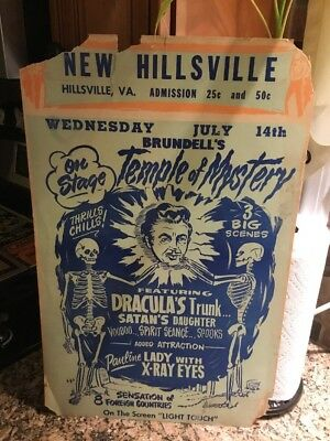 Spook Show Poster Window Card Brundell's Temple Of Mystery! Nice!