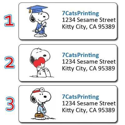 30 Snoopy Return Address Labels Personalized