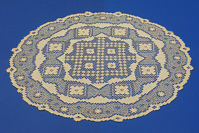 Antique Vintage Handmade Filet Lace ROUND Cotton Tablecloth