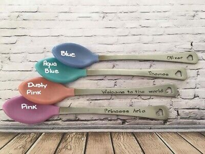 2 X Personalised, Baby Hot-tip Soft Silicone spoons. BPA Free