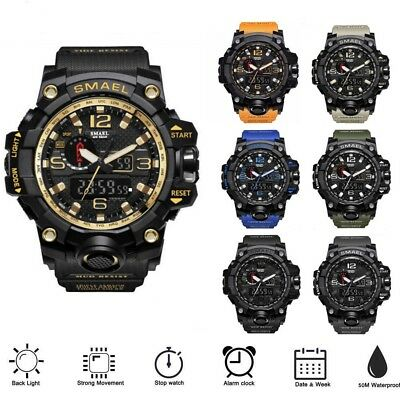 SMAEL Men's Waterproof Sports Watch Military Shock Analog Quartz Digital Watches