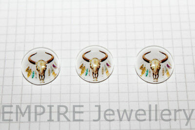 2 x Longhorn Steer Skull #3 12x12mm Glass Cabochons Cameo Dome Bull Cow Cowboy
