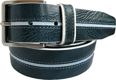 Made In Italy Mens Smart Casual Genuine Leather Belt Tan Brown Blue Black S M L XL XXL 3XL