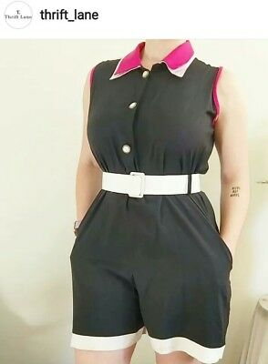 Vintage Black White Pink Romper With Belt