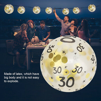 30th 40th 50th Birthday Balloons With Printed Numbers Party Decor Latex Gold x10