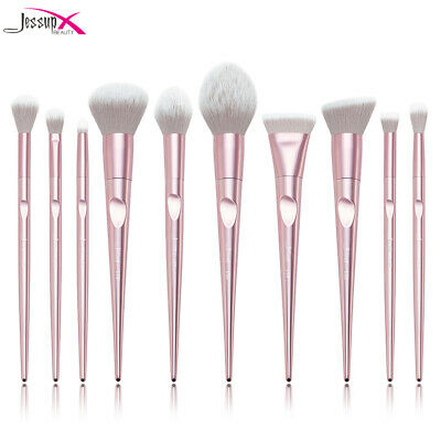 AU Jessup Beauty Pink Cosmetic Brush Set Powder Foundation Tapered ABS Handle