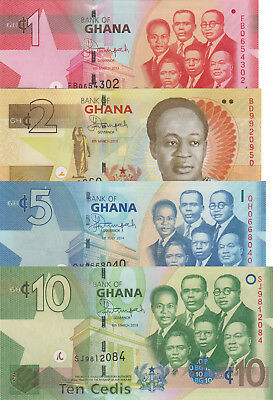 Ghana 4 Note Set: 1, 2, 5 and 10 Cedis (2013/2014) - p37d, p37Ab, p38e and p39d