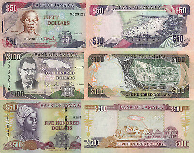 Jamaica 3 Note Set: 50, 100 & 500 Dollars (15.01.2007) - p83b, p84c & p85e