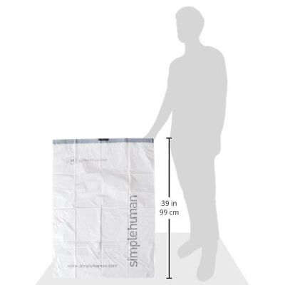 simplehuman Code M Custom Fit Liners, Tall Kitchen Extra Strong Trash Bag, 45L