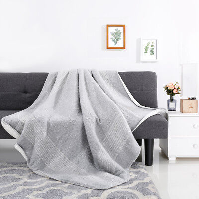 "60""X80"" Boucle Sherpa Luxury Reversible Throw Blanket Acrylic Polyester US"