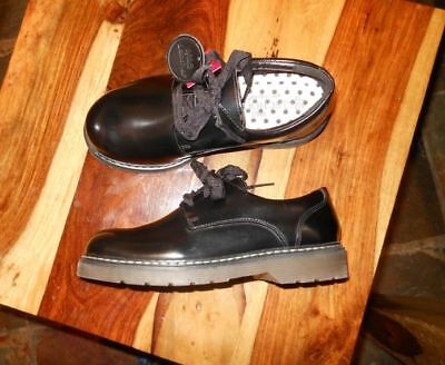 M&S Girls Black School Scuff resistant coated Leather shoes UK 2 ,wearing once