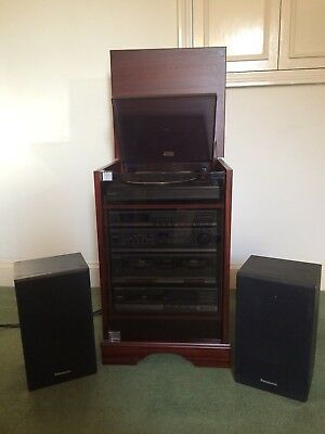 Panasonic CD, Radio, Double-Tape, Record Player Music System + Speakers & Remote