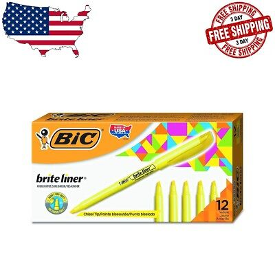 BIC Brite Liner Highlighter Yellow, Chisel Tip, 12-Pack