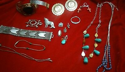 Lot Vintage to Now Native Southwest Jewelry Sterling Silver Turquoise ect