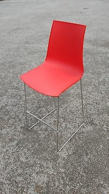 Used Plastic & Metal Red Bar Stool Chairs (£15.00 Each + Vat)